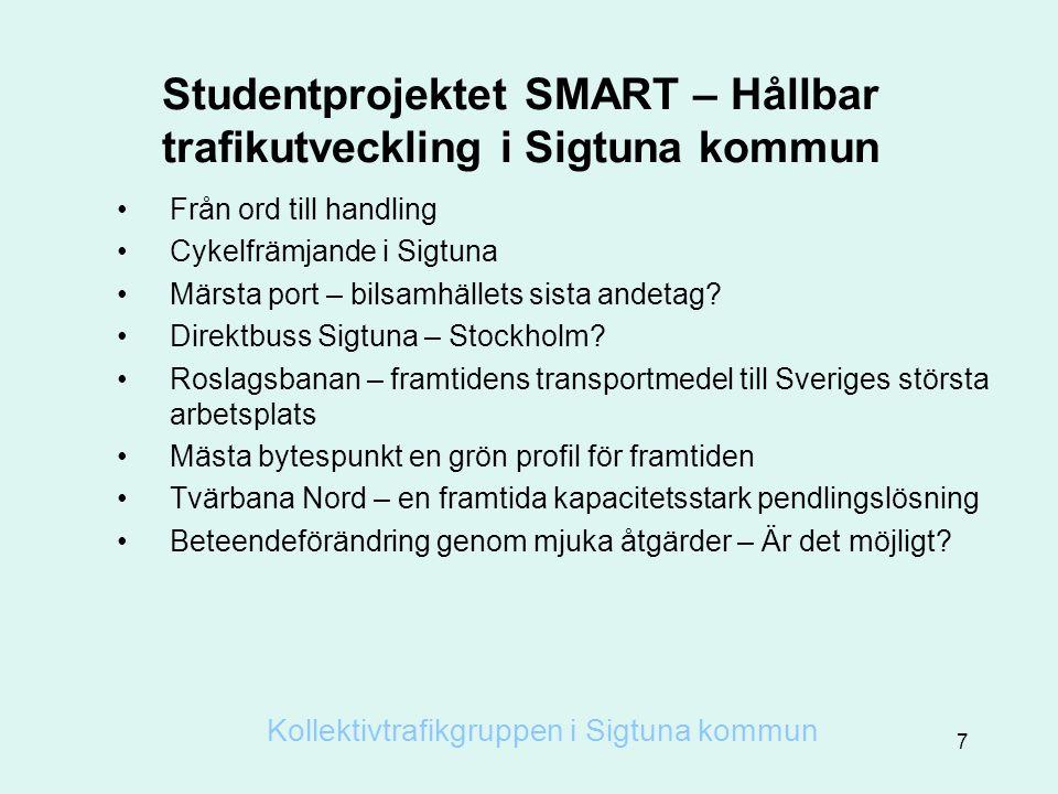 Studentprojektet SMART – Hållbar trafikutveckling i Sigtuna kommun
