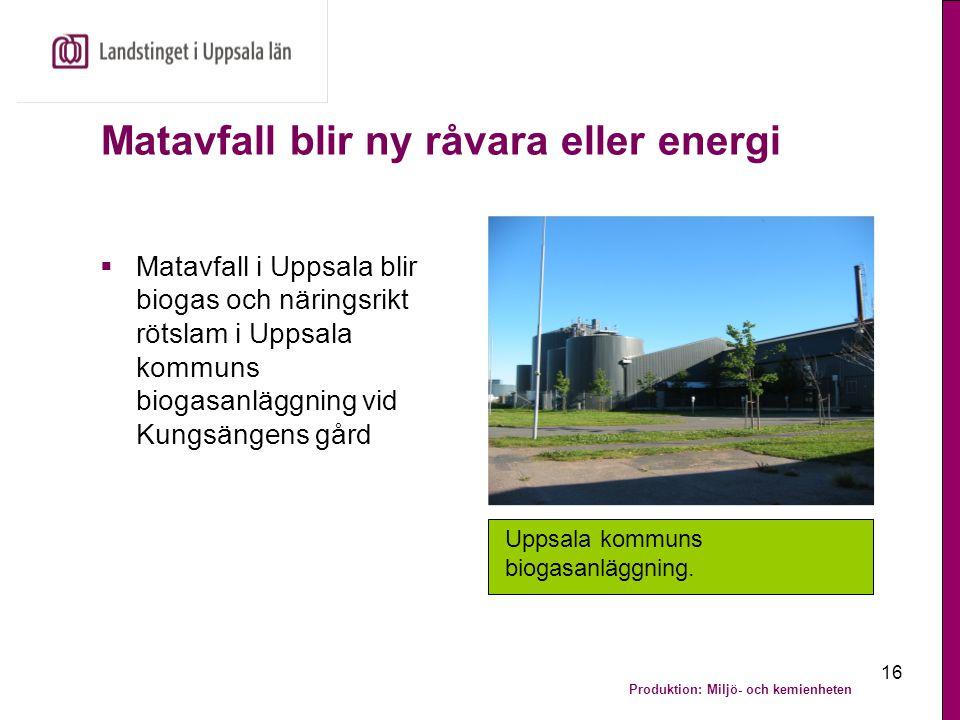 Matavfall blir ny råvara eller energi
