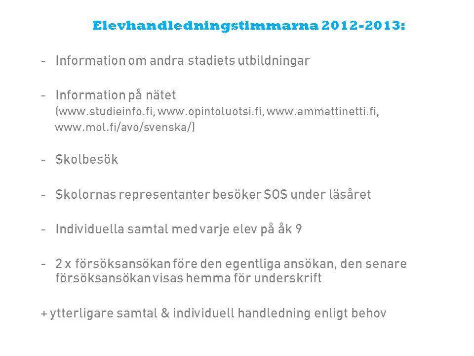 Elevhandledningstimmarna 2012-2013: