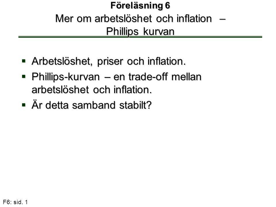 Föreläsning 6 Mer om arbetslöshet och inflation – Phillips kurvan