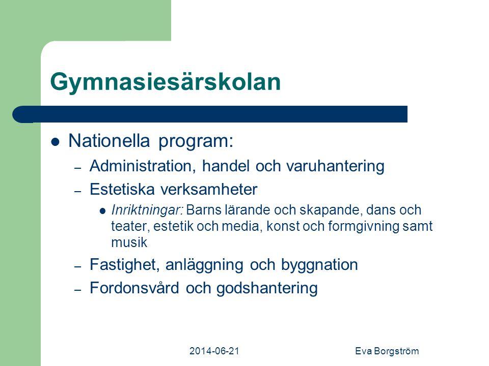 Gymnasiesärskolan Nationella program: