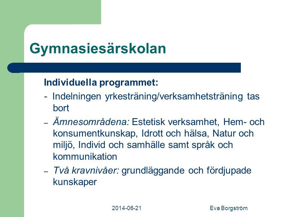 Gymnasiesärskolan Individuella programmet: