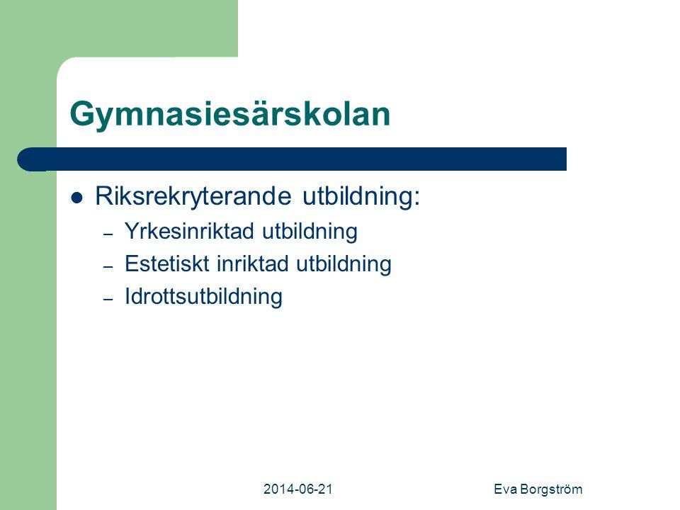 Gymnasiesärskolan Riksrekryterande utbildning:
