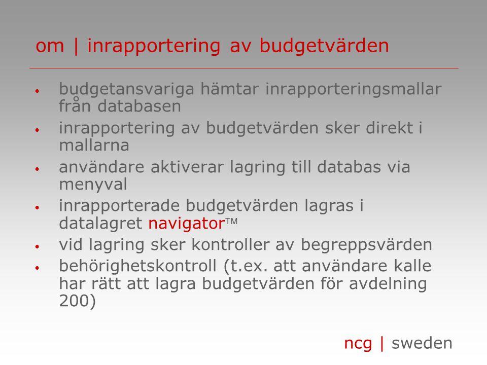 om | inrapportering av budgetvärden