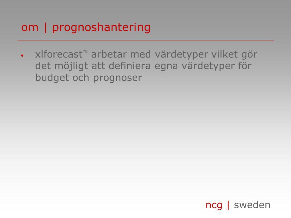 om | prognoshantering xlforecast arbetar med värdetyper vilket gör det möjligt att definiera egna värdetyper för budget och prognoser.