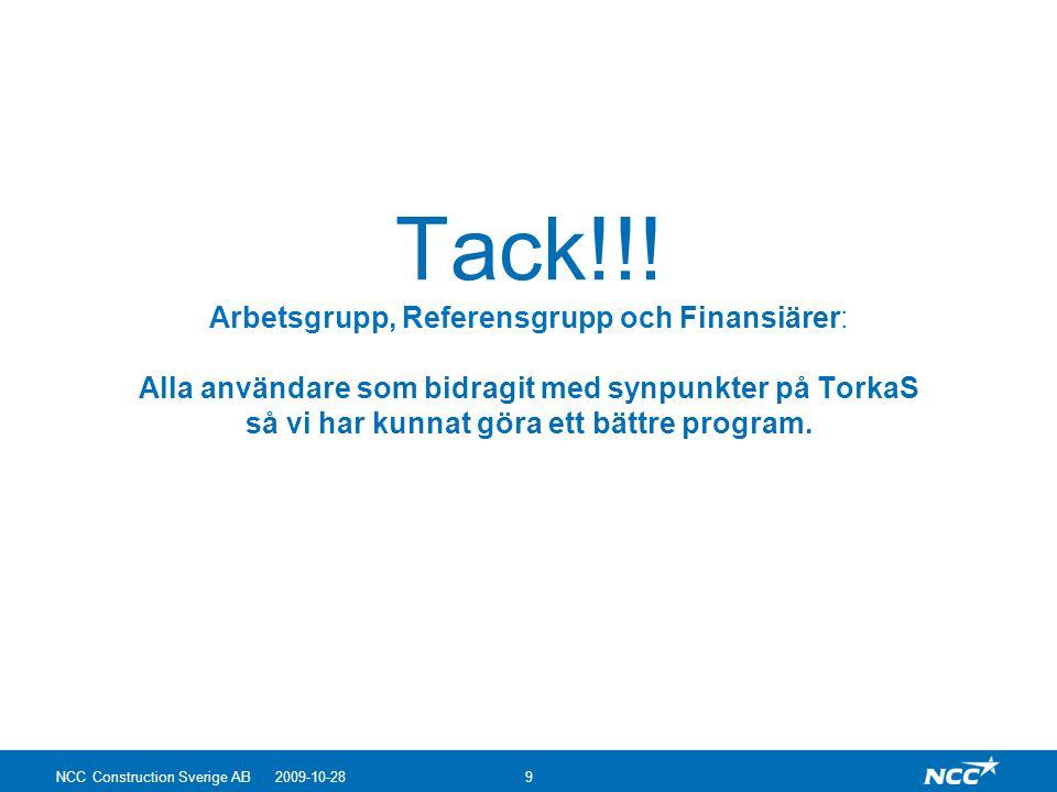 Tack!!! Arbetsgrupp, Referensgrupp och Finansiärer: Alla användare som bidragit med synpunkter på TorkaS så vi har kunnat göra ett bättre program.