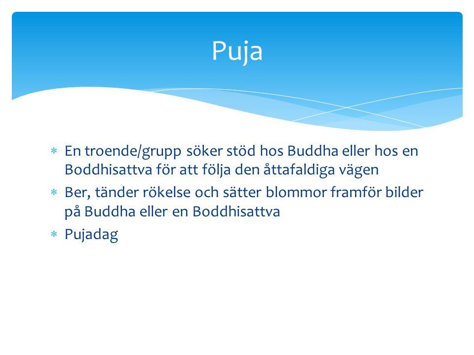 Puja En troende/grupp söker stöd hos Buddha eller hos en Boddhisattva för att följa den åttafaldiga vägen.