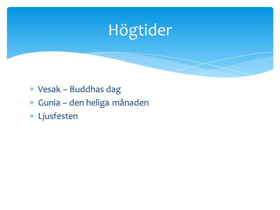 Högtider Vesak – Buddhas dag Gunia – den heliga månaden Ljusfesten