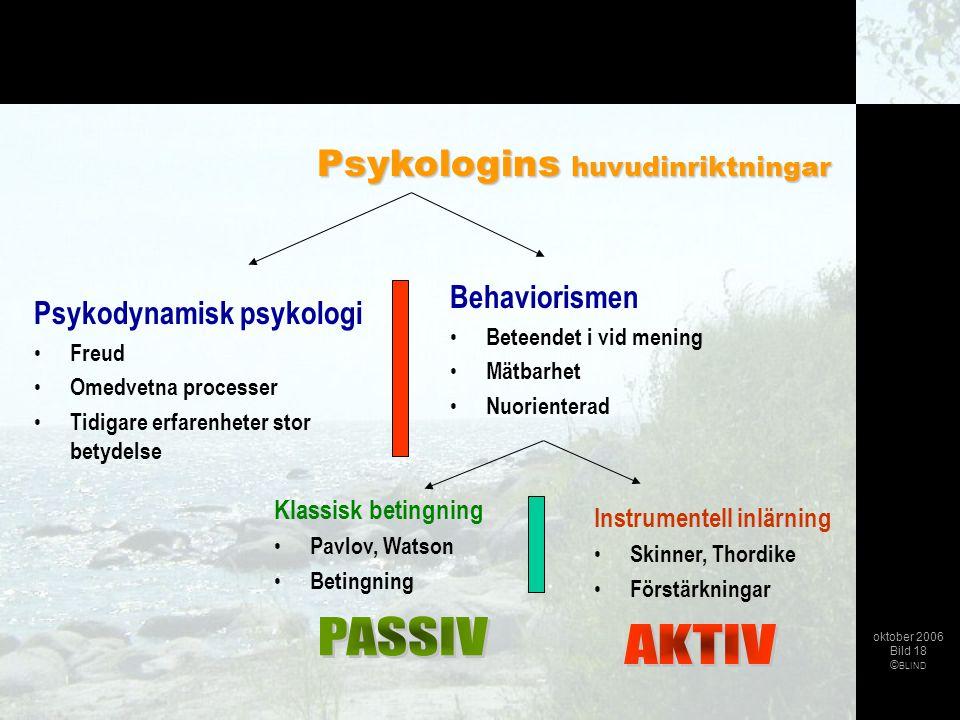 PASSIV AKTIV Psykologins huvudinriktningar Behaviorismen