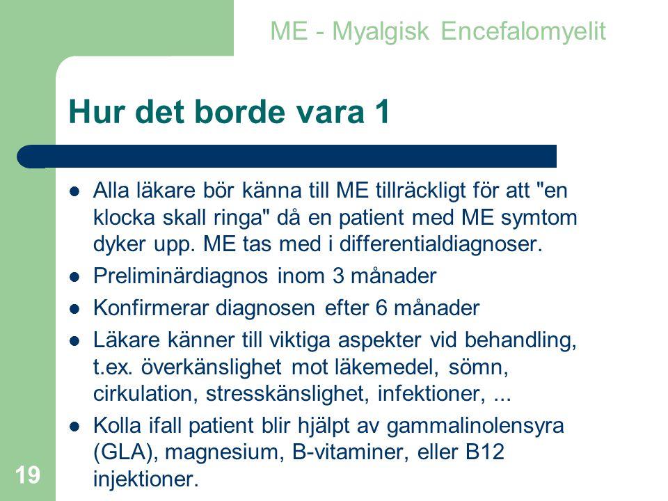 Hur det borde vara 1 ME - Myalgisk Encefalomyelit