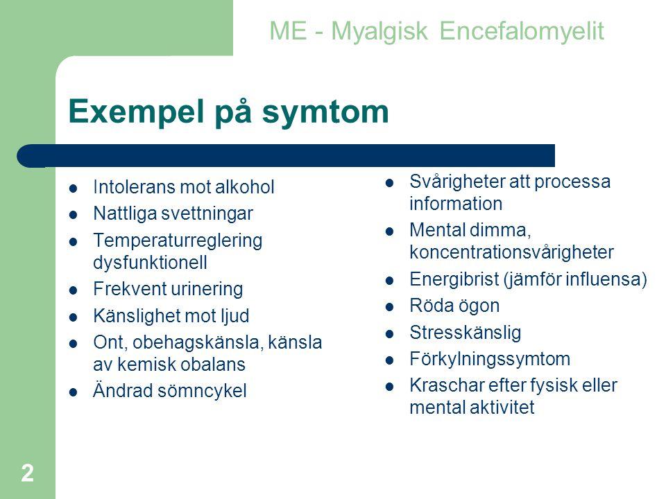 Exempel på symtom ME - Myalgisk Encefalomyelit
