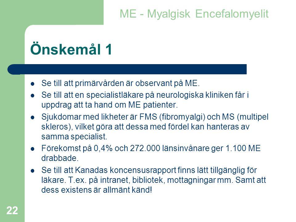 Önskemål 1 ME - Myalgisk Encefalomyelit