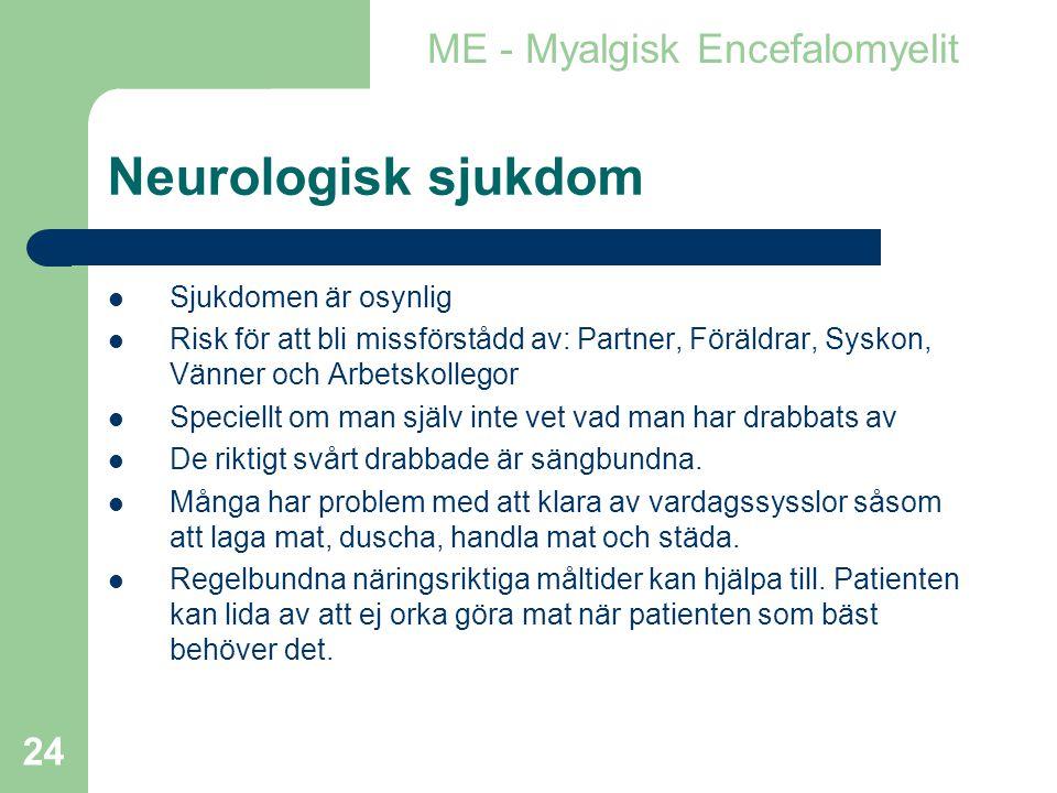 Neurologisk sjukdom ME - Myalgisk Encefalomyelit Sjukdomen är osynlig