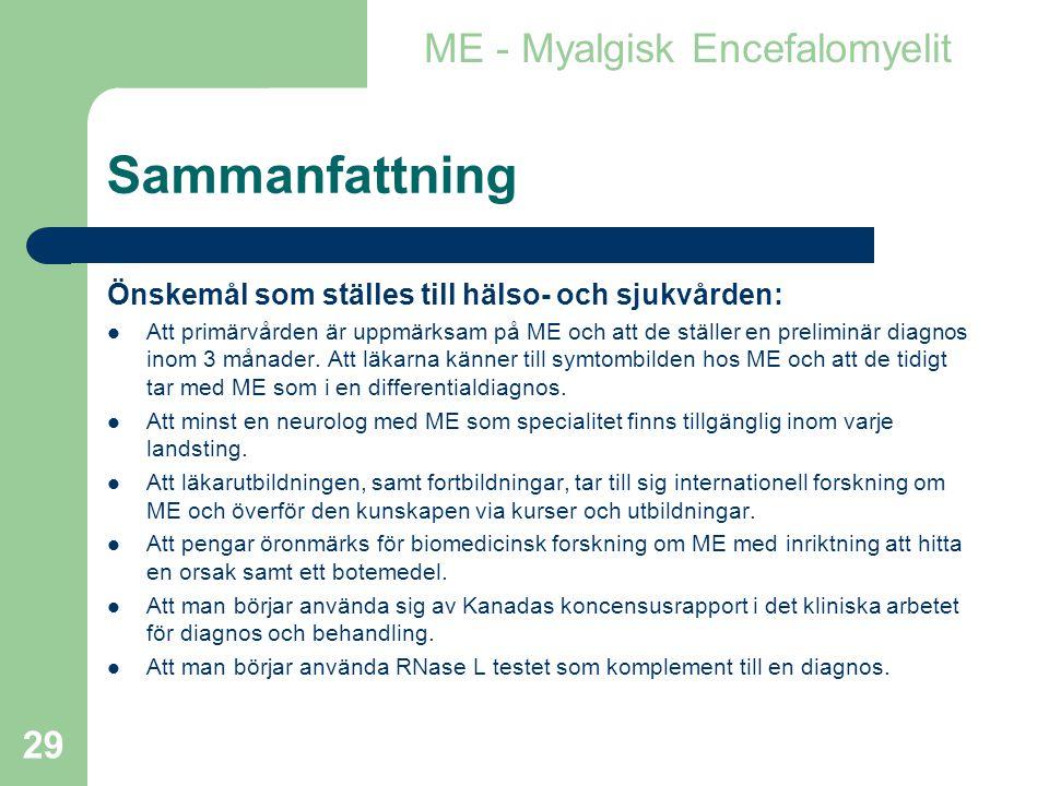 Sammanfattning ME - Myalgisk Encefalomyelit