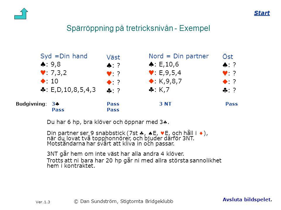 Spärröppning på tretricksnivån - Exempel