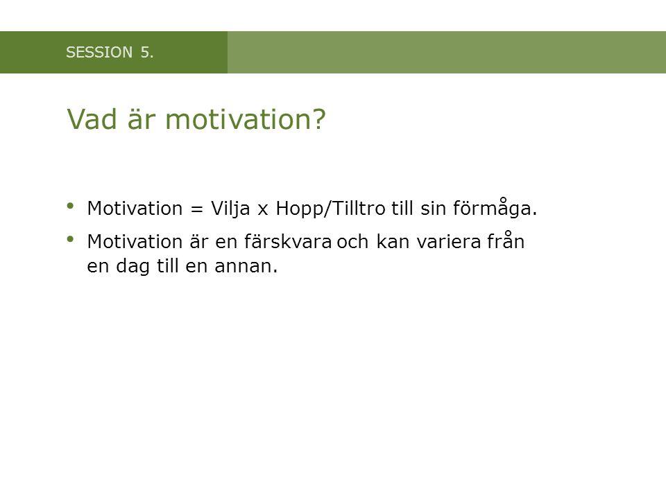 Vad är motivation Motivation = Vilja x Hopp/Tilltro till sin förmåga.