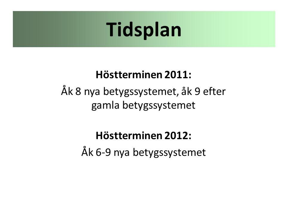 Tidsplan Höstterminen 2011: