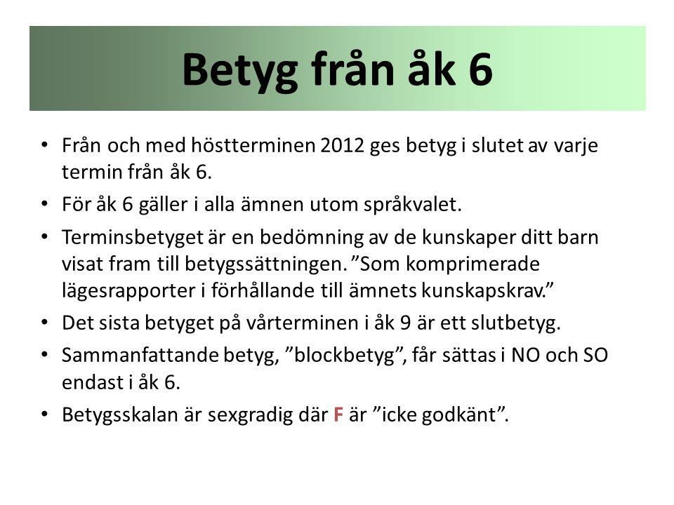 Betyg från åk 6 Från och med höstterminen 2012 ges betyg i slutet av varje termin från åk 6. För åk 6 gäller i alla ämnen utom språkvalet.