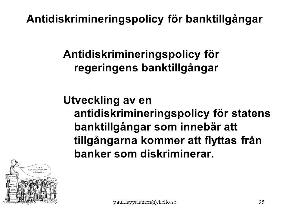Antidiskrimineringspolicy för banktillgångar