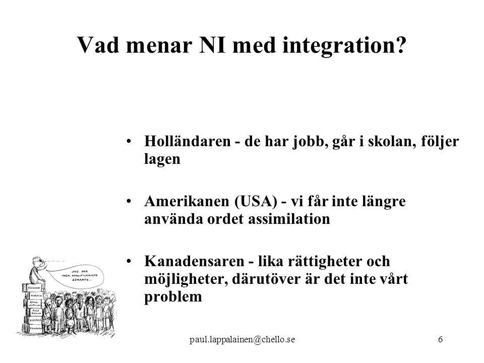 Vad menar NI med integration