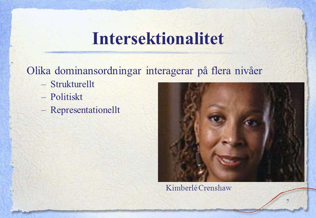 Intersektionalitet Olika dominansordningar interagerar på flera nivåer