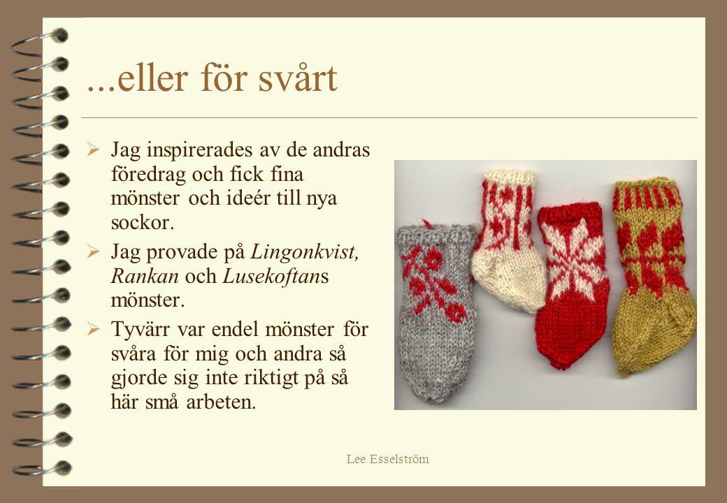 ...eller för svårt Jag inspirerades av de andras föredrag och fick fina mönster och ideér till nya sockor.