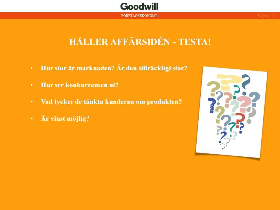 HÅLLER AFFÄRSIDÉN - TESTA!