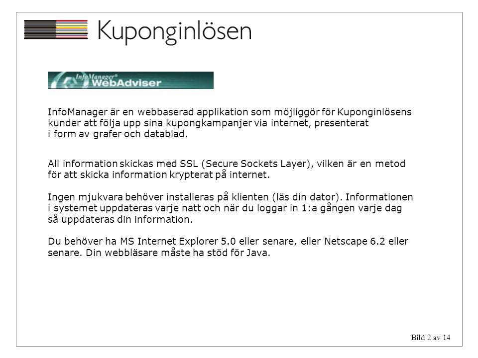 InfoManager är en webbaserad applikation som möjliggör för Kuponginlösens