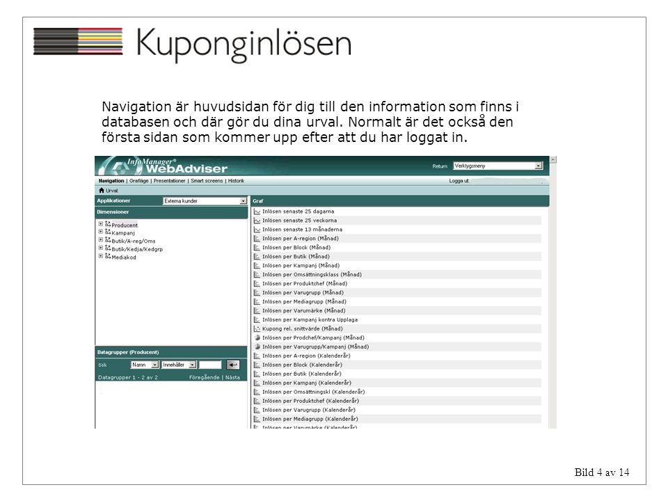 Navigation är huvudsidan för dig till den information som finns i databasen och där gör du dina urval.