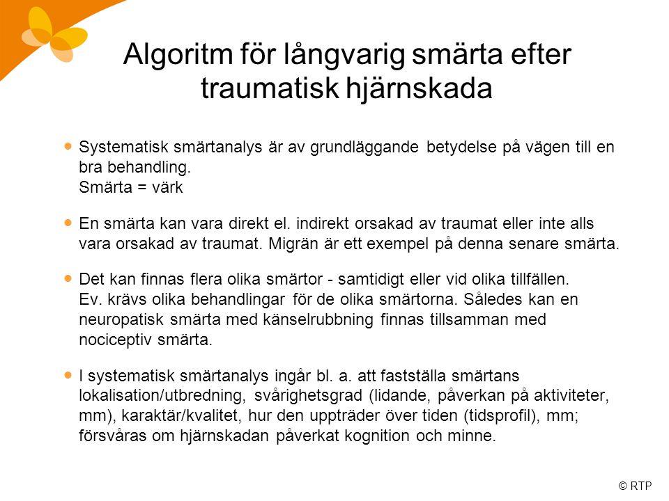 Algoritm för långvarig smärta efter traumatisk hjärnskada