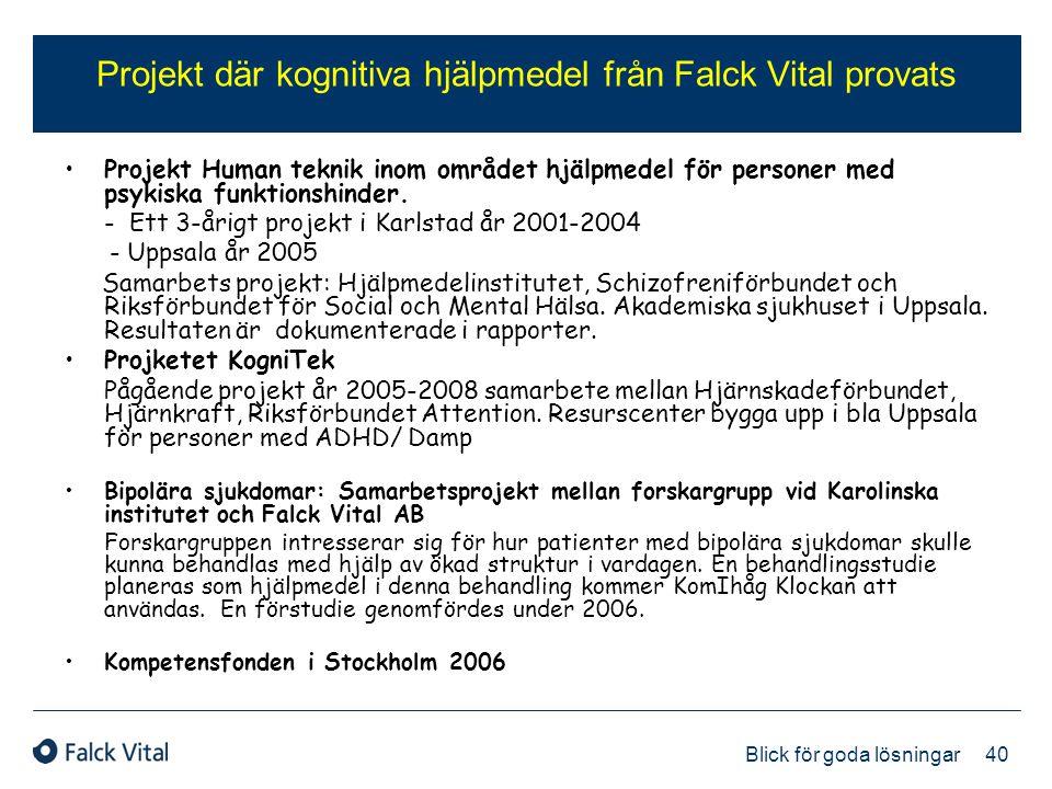 Projekt där kognitiva hjälpmedel från Falck Vital provats
