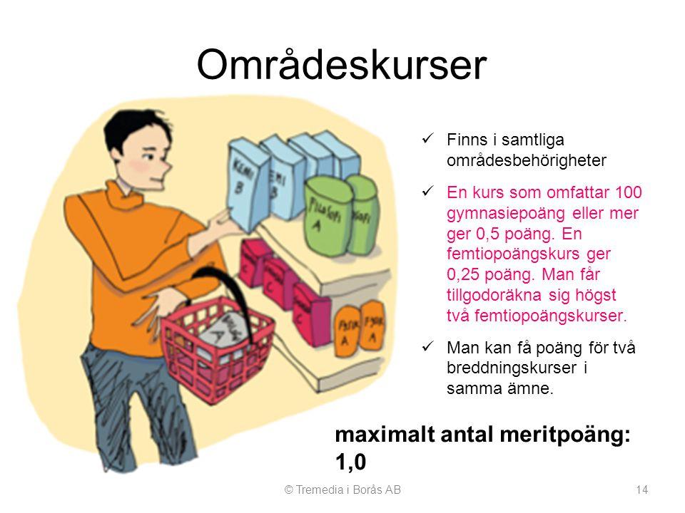 Områdeskurser maximalt antal meritpoäng: 1,0