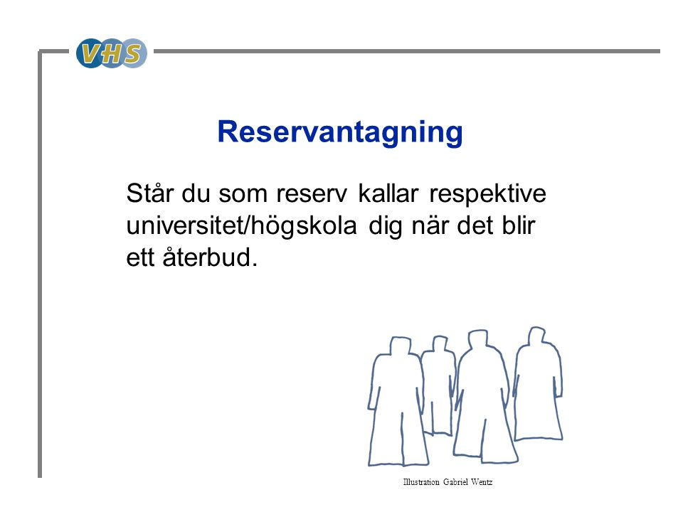 Reservantagning Står du som reserv kallar respektive