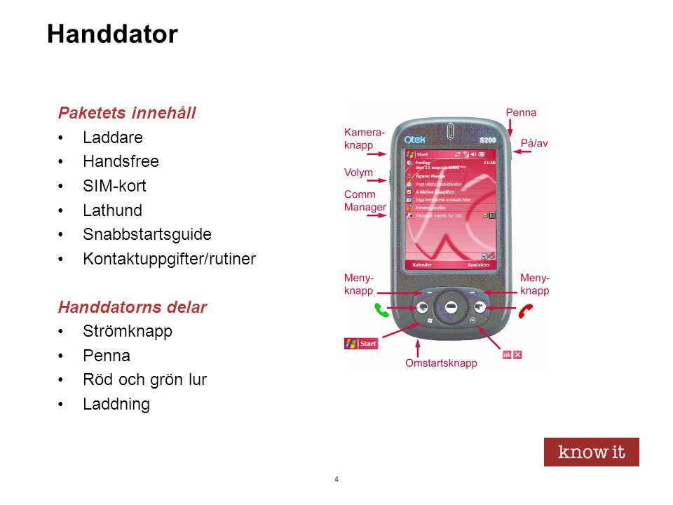 Handdator Paketets innehåll Laddare Handsfree SIM-kort Lathund