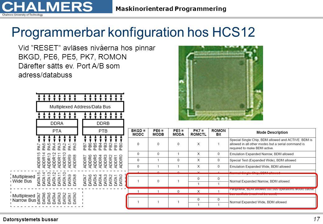 Programmerbar konfiguration hos HCS12