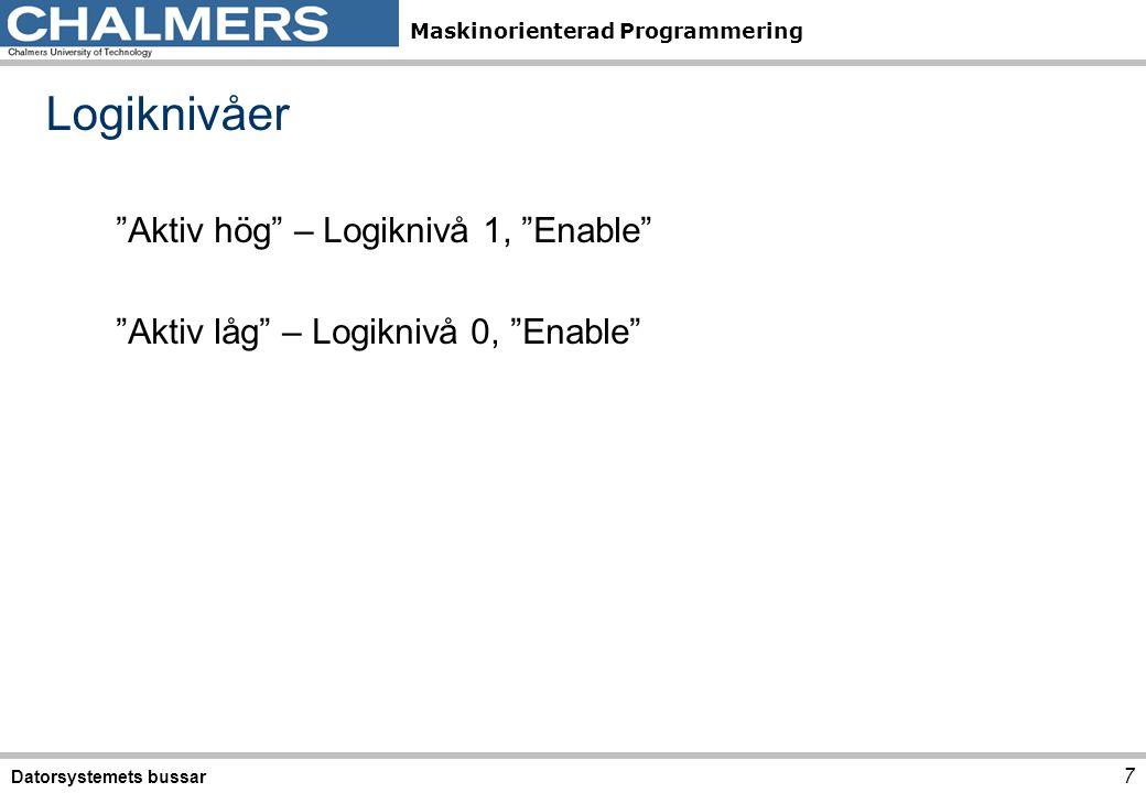 Logiknivåer Aktiv hög – Logiknivå 1, Enable Aktiv låg – Logiknivå 0, Enable Datorsystemets bussar.