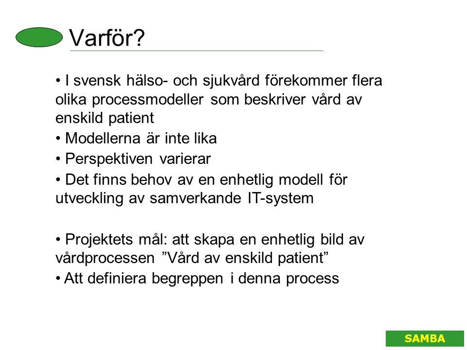 Varför I svensk hälso- och sjukvård förekommer flera olika processmodeller som beskriver vård av enskild patient.