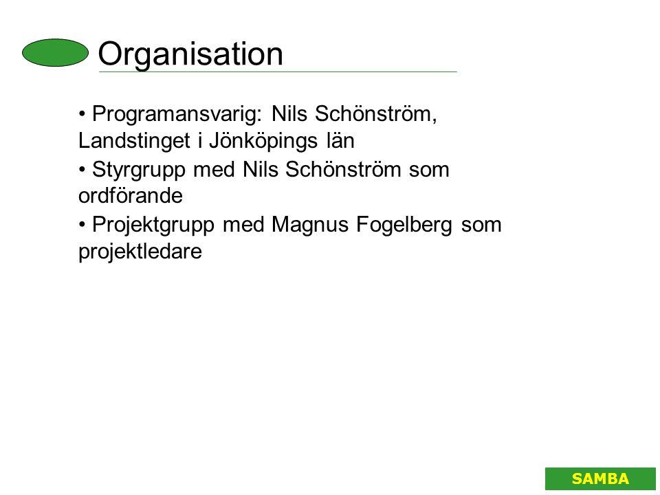 Organisation Programansvarig: Nils Schönström, Landstinget i Jönköpings län. Styrgrupp med Nils Schönström som ordförande.