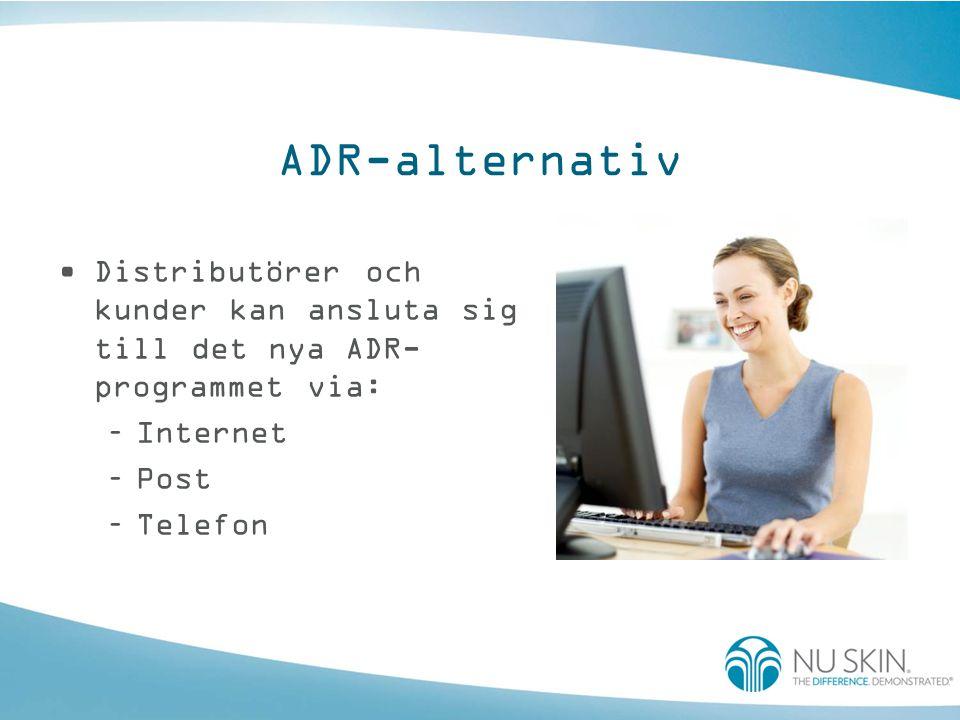 ADR-alternativ Distributörer och kunder kan ansluta sig till det nya ADR-programmet via: Internet.