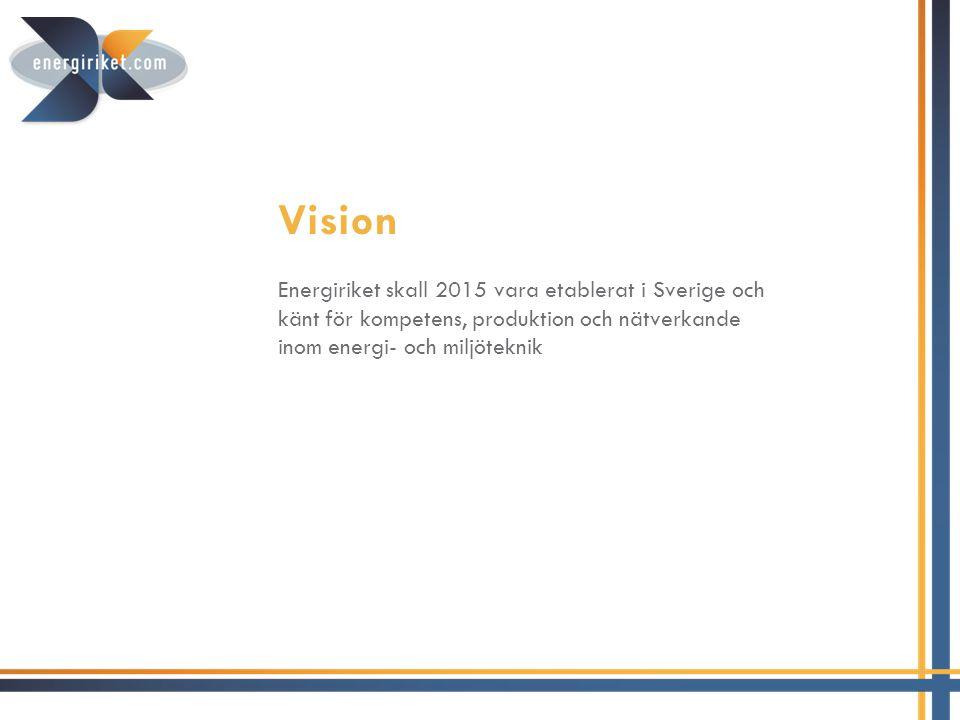 Vision Energiriket skall 2015 vara etablerat i Sverige och känt för kompetens, produktion och nätverkande inom energi- och miljöteknik.