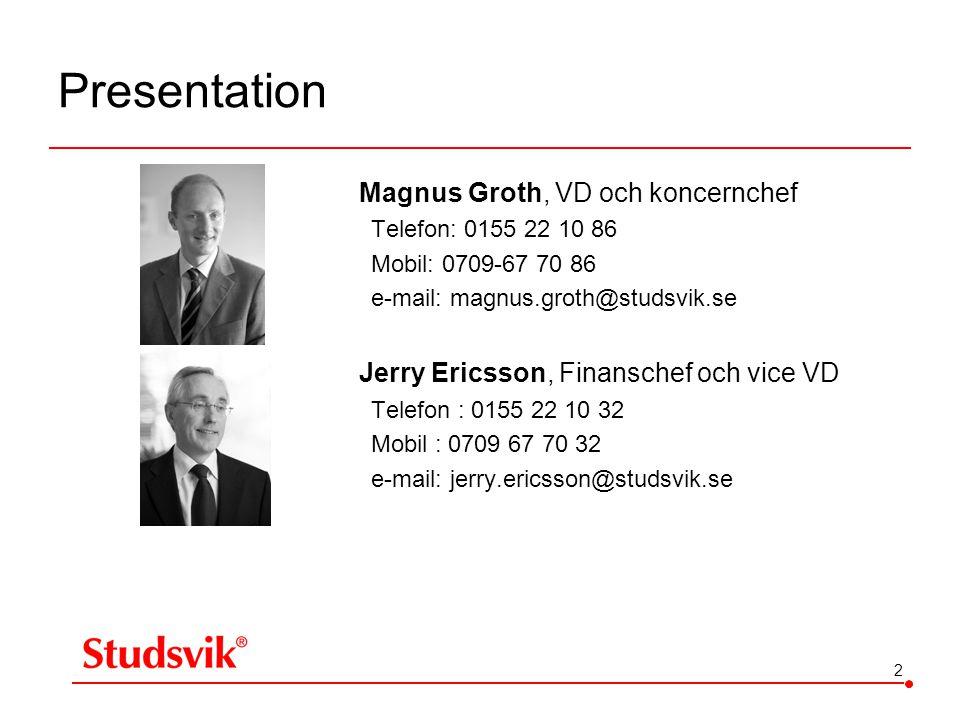 Presentation Magnus Groth, VD och koncernchef