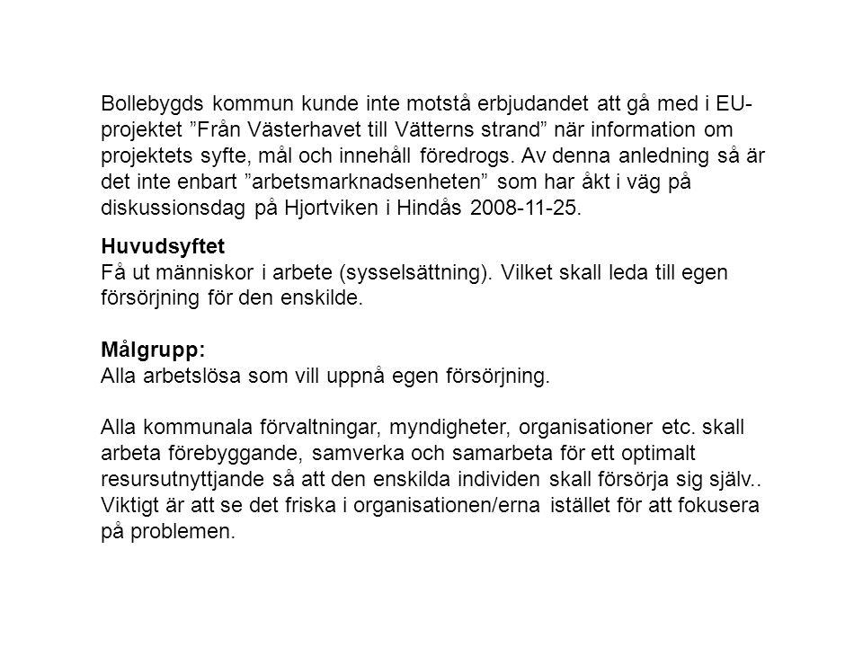 Bollebygds kommun kunde inte motstå erbjudandet att gå med i EU-projektet Från Västerhavet till Vätterns strand när information om projektets syfte, mål och innehåll föredrogs. Av denna anledning så är det inte enbart arbetsmarknadsenheten som har åkt i väg på diskussionsdag på Hjortviken i Hindås 2008-11-25.