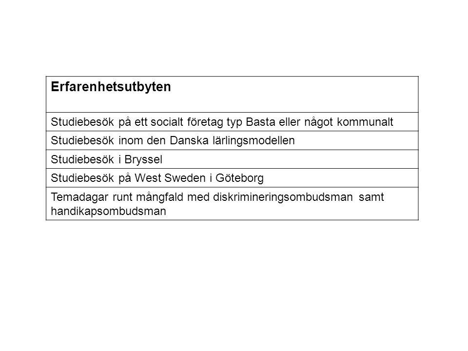 Erfarenhetsutbyten Studiebesök på ett socialt företag typ Basta eller något kommunalt. Studiebesök inom den Danska lärlingsmodellen.