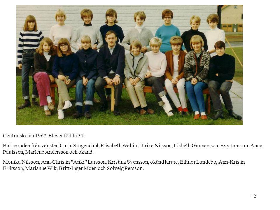 Centralskolan 1967. Elever födda 51.