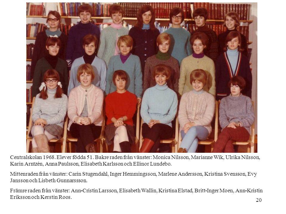 Centralskolan 1968. Elever födda 51