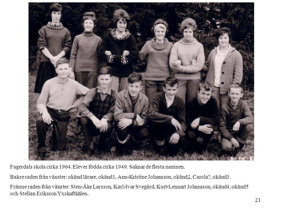 Fagerdals skola cirka 1964. Elever födda cirka 1949