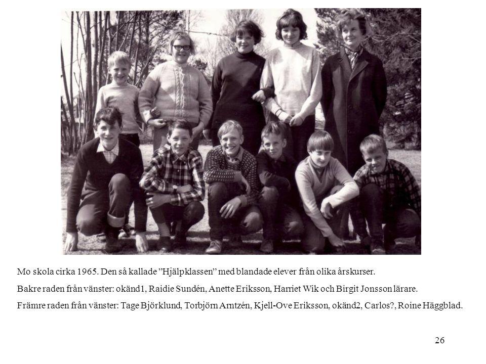 Mo skola cirka 1965. Den så kallade Hjälpklassen med blandade elever från olika årskurser.