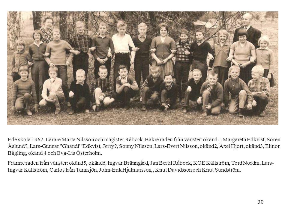 Ede skola 1962. Lärare Märta Nilsson och magister Råbock