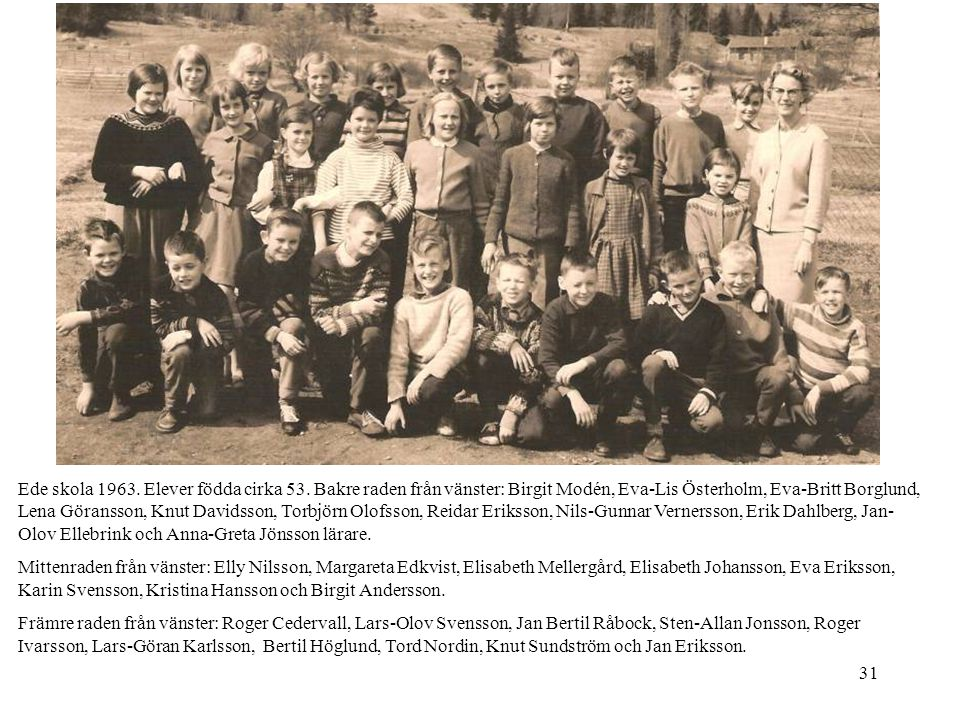 Ede skola 1963. Elever födda cirka 53