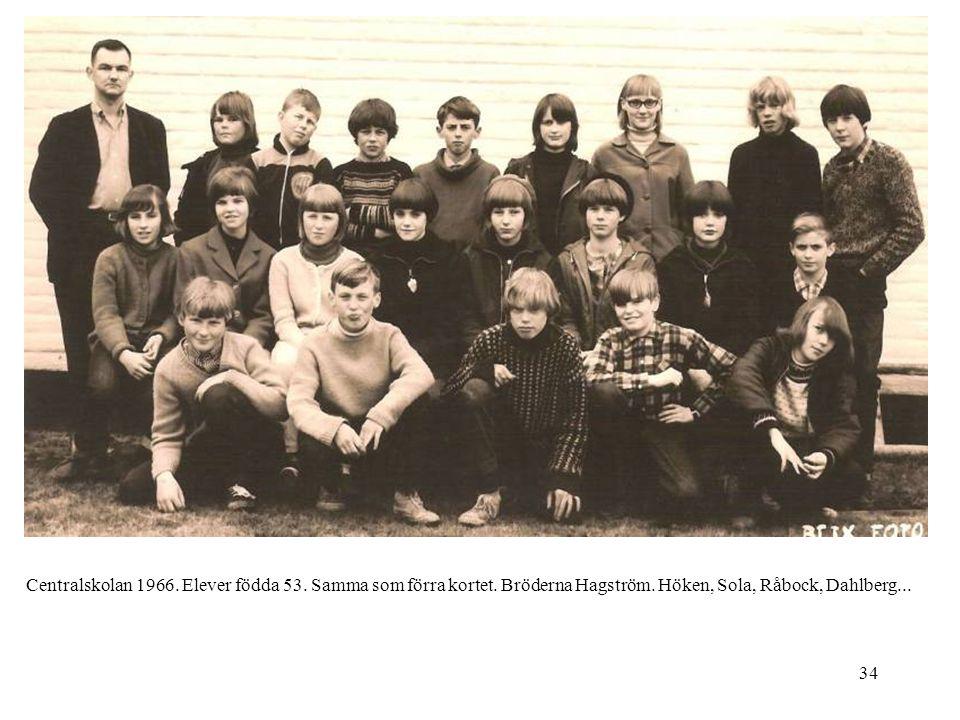 Centralskolan 1966. Elever födda 53. Samma som förra kortet